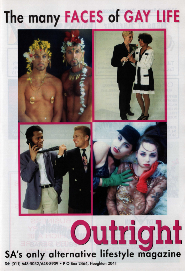 From The Family Business Directory, South Africa's First Gay Telephone Directory (1995), from Gay and Lesbian Memory in Action, South Africa