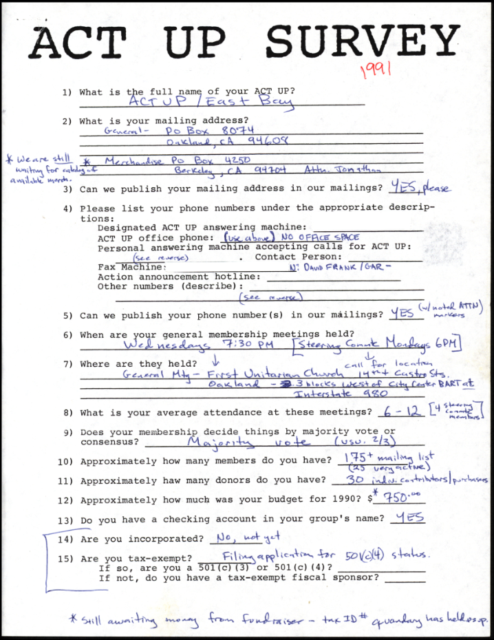 Act Up Survey from the Lesbian Herstory Archives