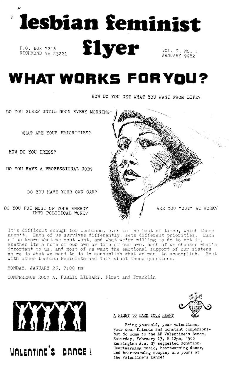 Richmond Lesbian Feminist Flyer, January 1982