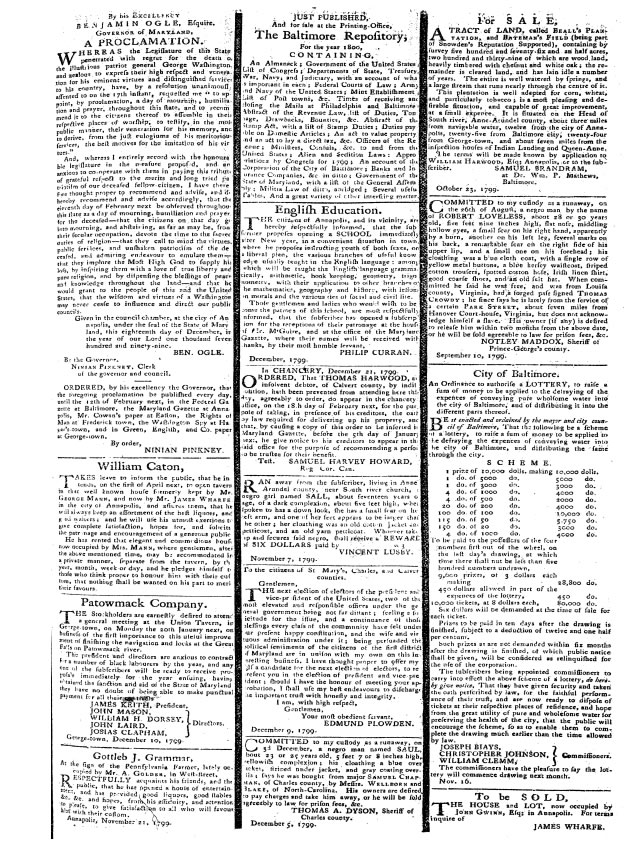 Multiple classified advertisements within an issue of the Maryland Gazette