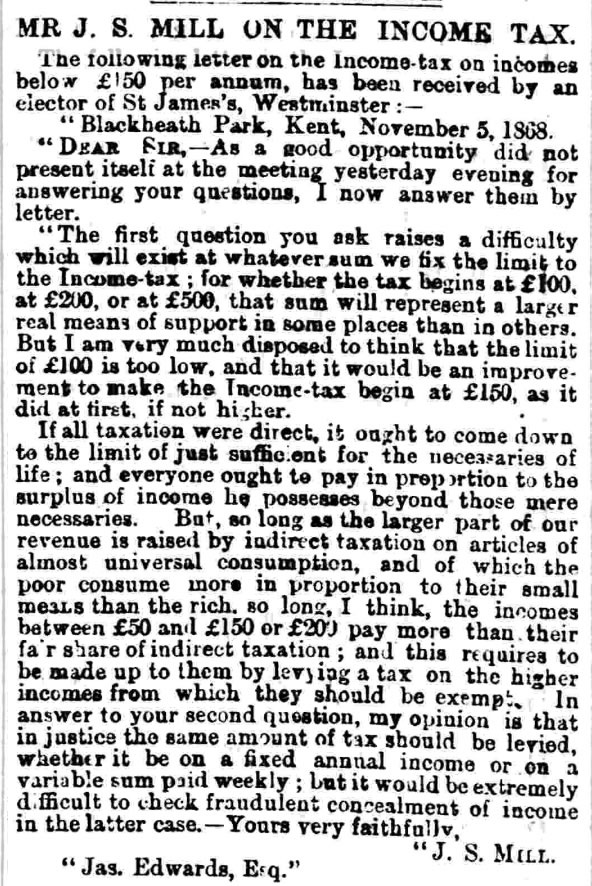 John Stuart Mill in the Dundee Courier, 11 November 1868.