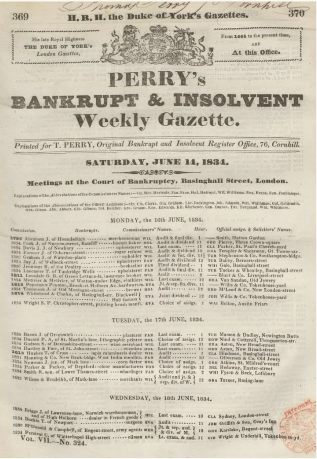 Perry's Bankrupt Gazette,14 June 1834: 369-70.