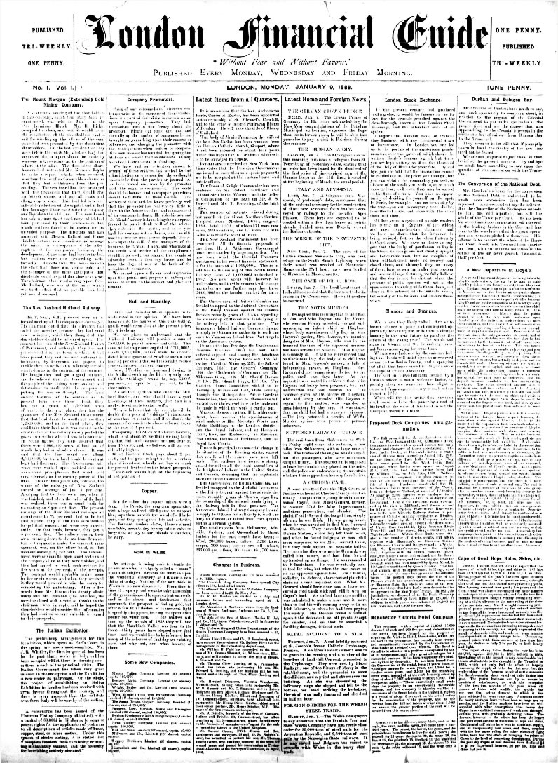 9 January 1888 - The Financial Times Launches