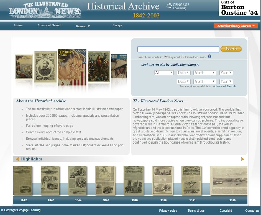 Use the Illustrated London News Historical Archives interface to browse publications by date and many other filters