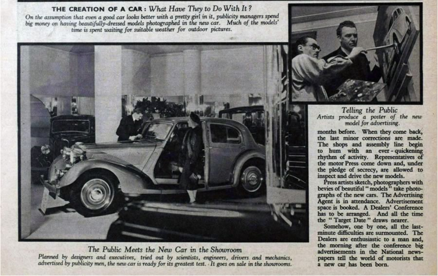 Article from the Picture Post that highlights how women supported the launch of new vehicles in the late 1930's