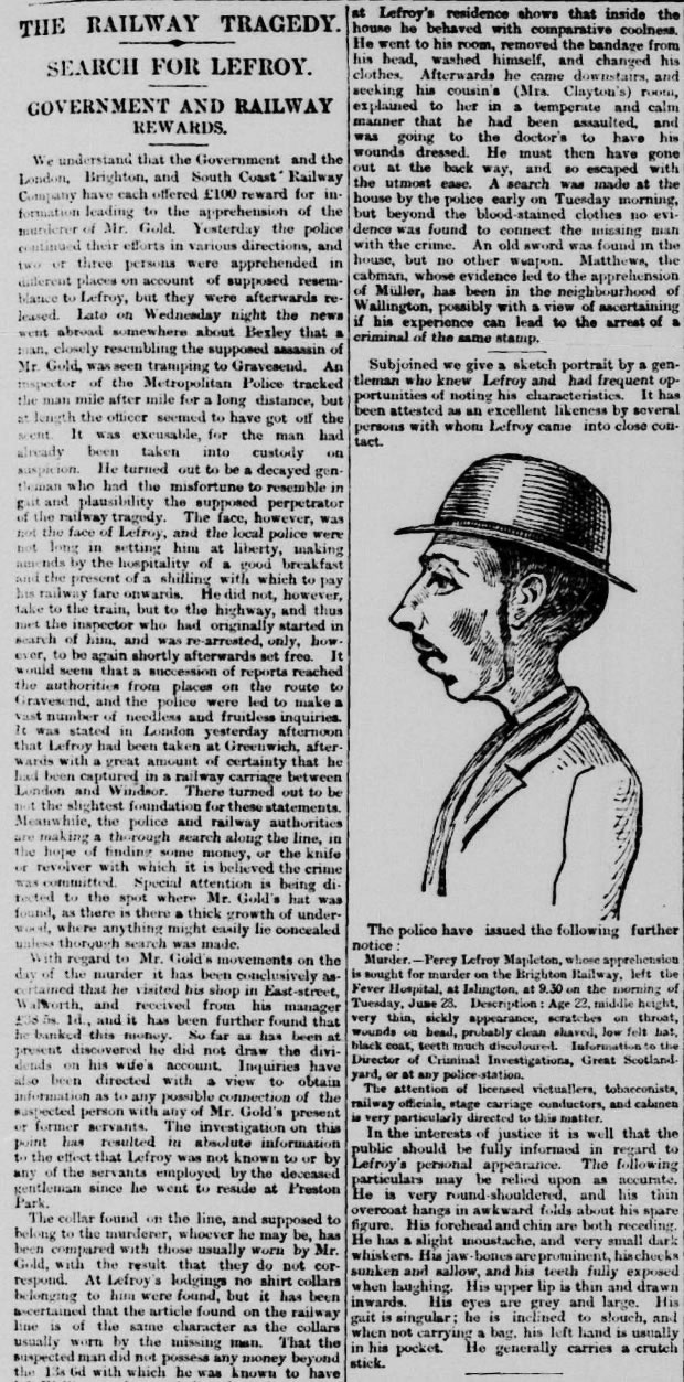 1 July 1881: A drawing by Hall Richardson of murder suspect Percy Lefroy Mapleton is the first image to appear in the Telegraph, and helps in the manhunt for him