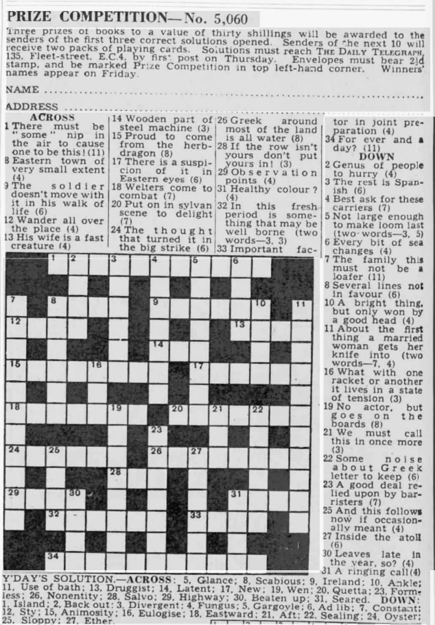 10 January 1942, Crossword competition held. Successful competitors were recruited by Bletchley Park, which used this as a covert recruitment exercise