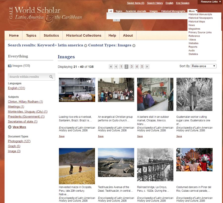 Browse Gale World Scholar Latin America & the Caribbean by images, topic, and many more filters