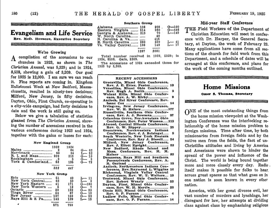 Source: Herald of gospel liberty. Volume 117. [Dayton, Ohio], 1808-1930. 1218pp. 122 vols.