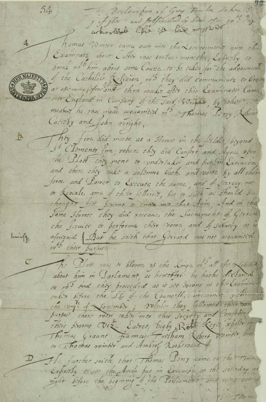 Declaration of Guy Faulks, 1605