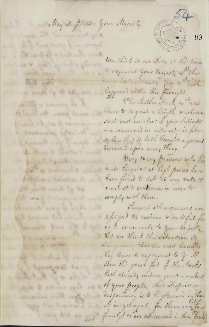 Townshend to Colonel Morgan - Signifying the King's approval of the arrest of Lord North and Lord Grey, September 25 1722.  SP 35/33 f. 143. Reproduced by kind permission of The National Archives of the UK