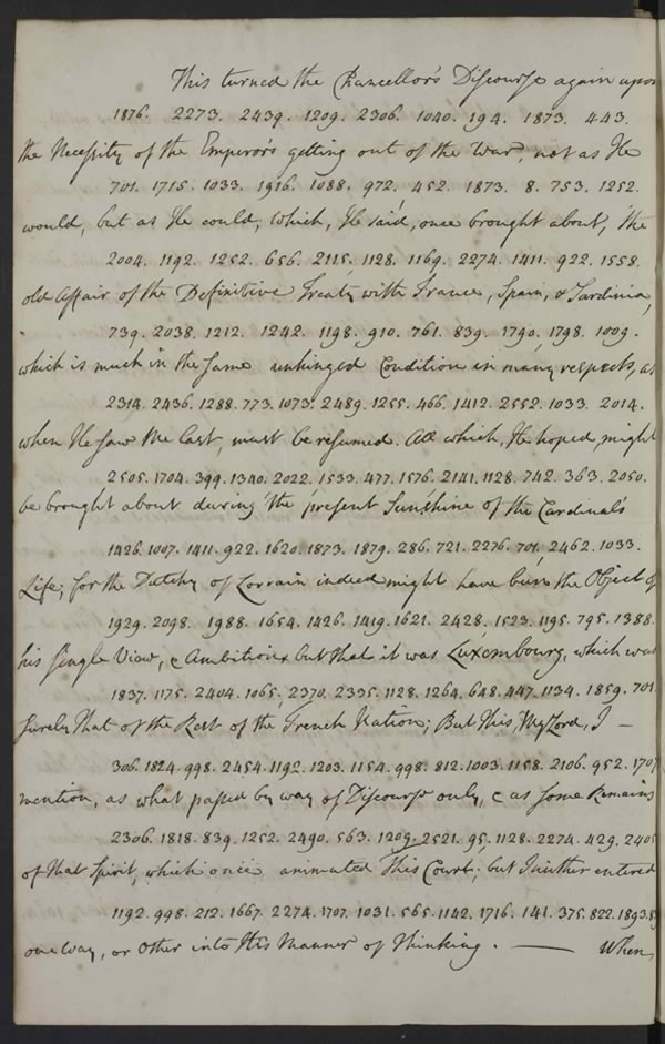 Page in cypher of letter from Thomas Robinson, diplomat in Vienna to Rt Hon. Lord Harrington, Secretary of State, 28 May 1738 discussing the Emperor getting out of the war.  All images © Reproduced by kind permission of The National Archives of the UK