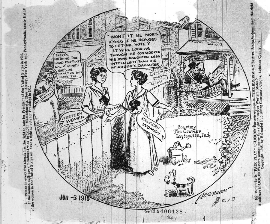 Source:  Woman Suffrage facts cartooned Cleona, Pennsylvania, 1915.