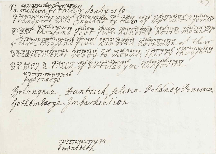 RA SP/Main/17/27 – Decoded extract detailing Swedish support for a planned Jacobite uprising, 1717 Supplied by the Royal Archives /© Her Majesty Queen Elizabeth II