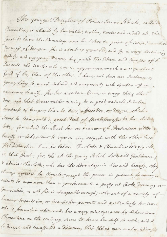 RA  SP/Main/30/113 – Letter describing Clementina Sobieska as a potential wife for James Francis Edward Stuart, 1718 Supplied by the Royal Archives /© Her Majesty Queen Elizabeth II