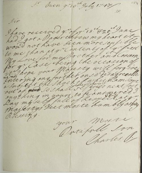 RA SP/Main/285/104 – Charles Edward Stuart's reaction to his brother becoming a Cardinal, 1747 Supplied by the Royal Archives /© Her Majesty Queen Elizabeth II