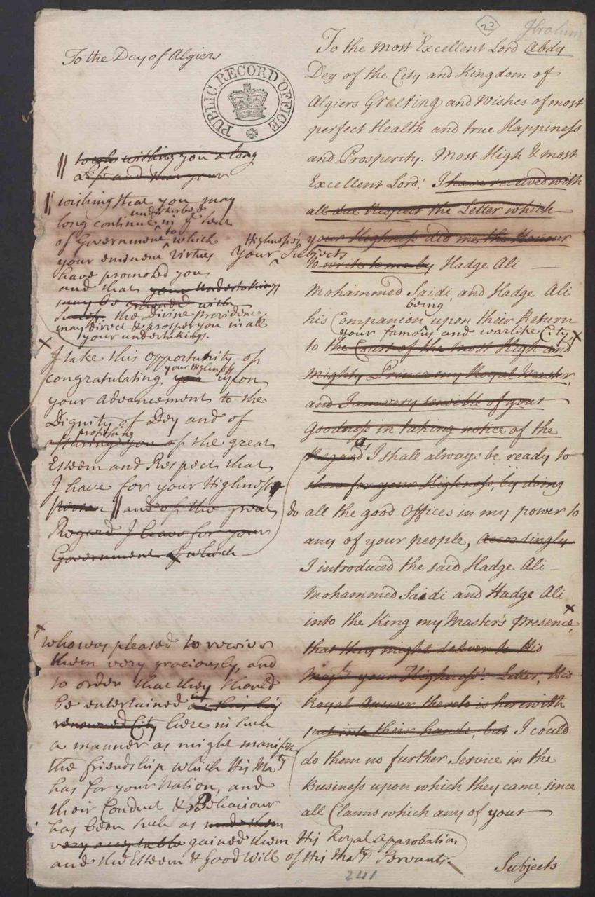 SP71/11 f.44: Draft letter from the Duke of Newcastle to the Dey of Algiers, 1732