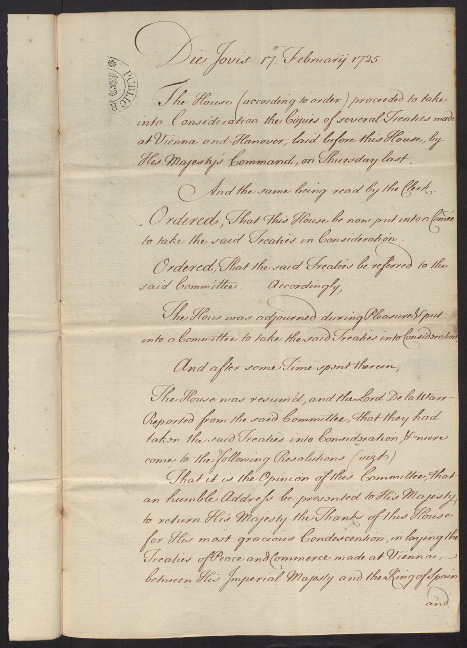 SP 103/107 f.109: Resolution of the House of Lords, upon the Treatys of Vienna & Hanover, 17 February 1725